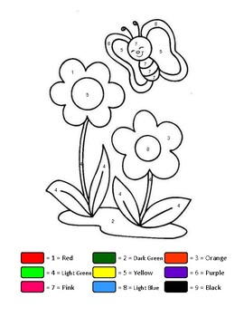 Easy Color By Numbers Art Butterfly And Flower Printable Learn Number And Colors
