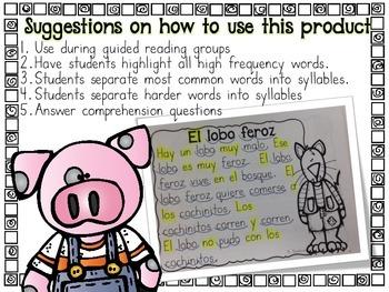 Easy Comprehension Passages-Fairy Tales in Spanish comprensión