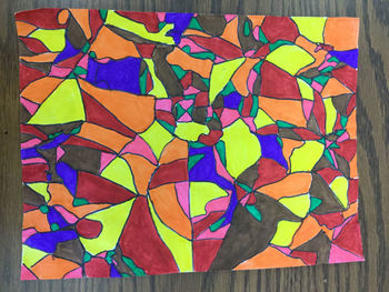 Easy Crumpled Paper Stained Glass Abstract Art
