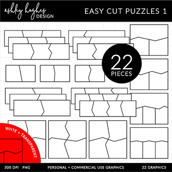 Easy Cut Puzzle Templates Clipart {A Hughes Design}