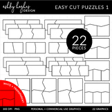 Easy Cut Puzzle Templates Clipart {A Hughes Design}