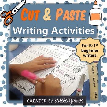 Easy Writing Activities for Kindergarten - No Prep Cut and Paste Worksheets