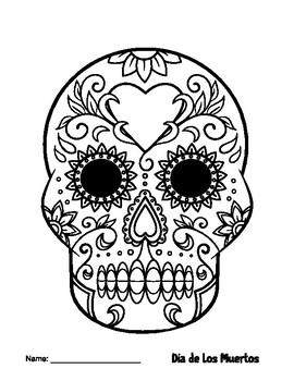 Easy Dia De Los Muertos Coloring Page Sugar Skull Craft