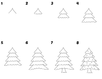 Easy To Draw Christmas Tree.Easy Directed Draw Christmas Tree