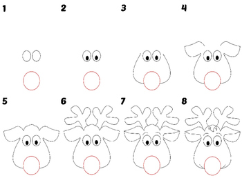 Easy Directed Draw Holiday Reindeer
