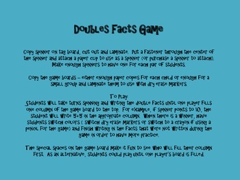 Easy Doubles Facts Game