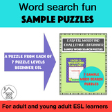 Easy ESL Wordfind Challenge: Beginner: Sample Word Search Puzzles
