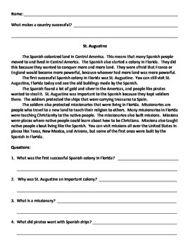Easy Early Colonies 1 Summaries - United States
