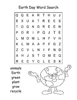 Easy Earth Day Word Search Puzzle / Kindergarten by Kelly ...