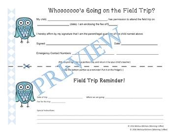 Easy Editable Field Trip Organizer