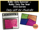 Easy Beginning of the Year OR End of Year Gift for Students - 4 Dice Games!