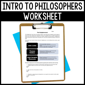 Easy Enlightenment Worksheet - Great Intro to Philosophers!