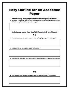 Easy Essay Outline Highschool By Kandra Parrott  Tpt Easy Essay Outline Highschool