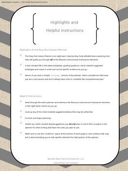 Marzano Evaluation: Easy Eval Planner