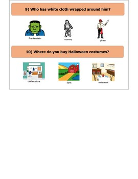 Easy Fall / Halloween WH- Questions with visuals