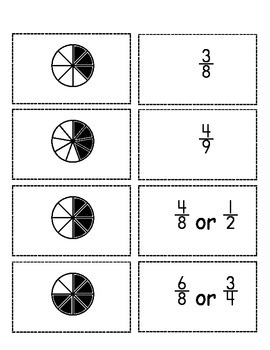 Easy Fraction Flashcards 2 (Set of 20 With Denominators up to 10)