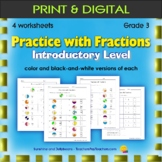Easy Fraction Practice Worksheets - Intro Level - Grade 3