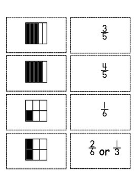 Easy Fractions Flashcards 1 (Set of 20 flashcards w/Denominators up to 10)