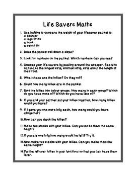 Easy Freebie - Life Savers Maths