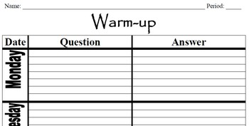 Easy Grade Warm-up Week with room for a bonus question