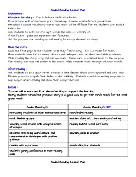 Easy Guided Reading Lesson Plan