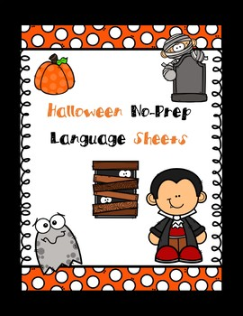 Easy Halloween No-Prep Language Sheets