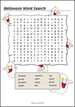 Halloween Word Search - Easy
