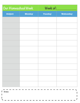 Easy Homeschool Planner Pages