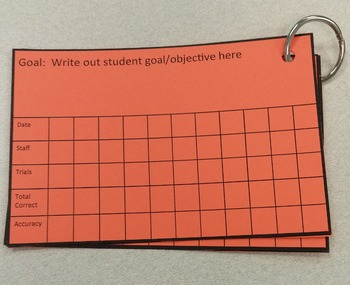 Easy IEP goal data collection cards