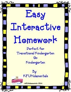 Easy, Interactive Kindergarten Homework: For TK, K or Special Ed K