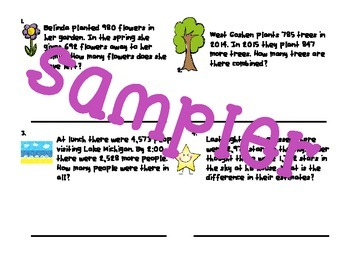Easy Intermediate Addition and Subtraction Story Problems Sampler