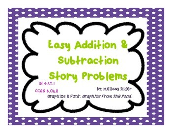 Easy Intermediate Addition and Subtraction Story Problems