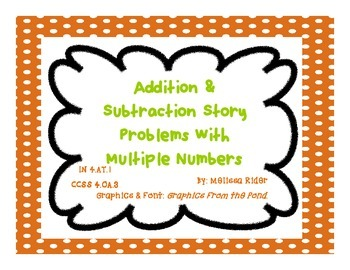 Easy Intermediate Addition and Subtraction Story Problems Sampler with 3 Numbers