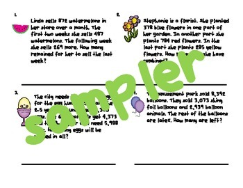 Easy Intermediate Addition and Subtraction Story Problems with 3 Numbers Sampler