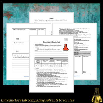 Easy & Affordable Lab Exploring Solvents and Solutes