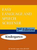 Easy Language Speech Screener - Kindergarten 2nd Edition -