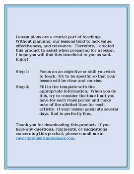 Easy Lesson Plan Template