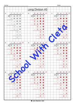 Easy Long Division Worksheets (4 Digit Dividends With 3 As The Divisor)