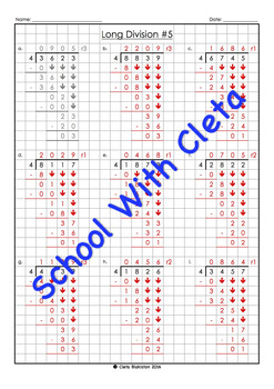 Easy Long Division Worksheets (4 Digit Dividends With 4 As The Divisor)