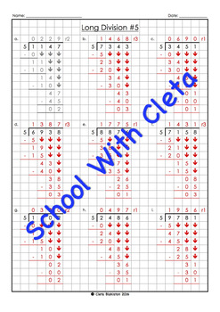 Easy Long Division Worksheets (4 Digit Dividends With 5 As The Divisor)