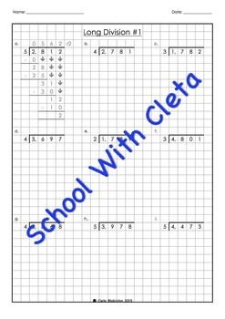 Easy Long Division Worksheets (4 Digit Dividends With Easy