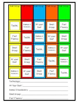Easy Math Workshop Rotation Chart