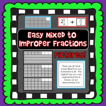 Easy Mixed to Improper Fractions