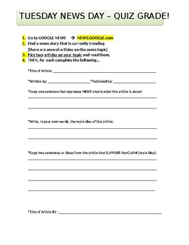 Easy News Story Search Worksheet Activity - Analyze and Compare Any News Stories