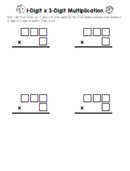 Easy, No Prep, Multiplication and Division Dice Games