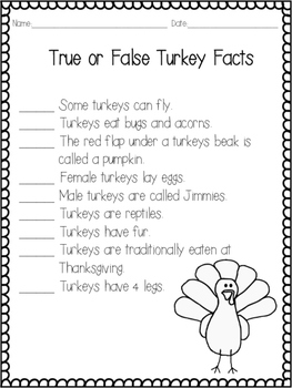 No Prep Turkey Activities