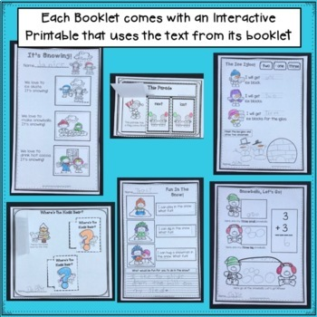 Easy No Prep Winter  Booklets for Beginning Readers