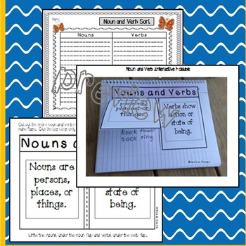 Easy Nouns and Verbs Literacy Center: Word Cards w/ Picture Support & Activities