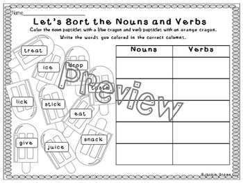 Easy Nouns and Verbs: Sort the Nouns & Verbs Sample