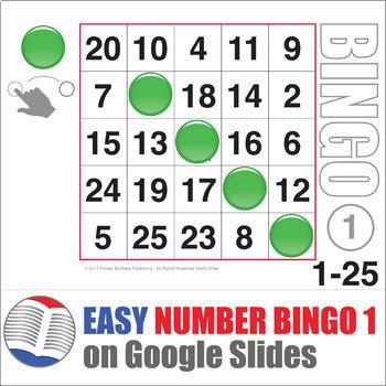 Easy Number Digital Bingo 1